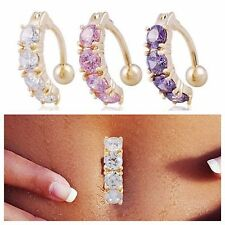 US-Charming Crystal Rhinestone Piercing Jewelery Belly Button Navel Ring Barbell
