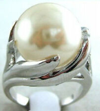 Rare Huge 14mm White South Sea Shell Pearl Gemstone Jewelry Ring Size 7 8 9