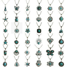 Women Fashion Tibetan Retro Silver Turquoise Bib Crystal Pendant Long Necklace H