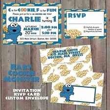 Baby Cookie Monster Invitations, Envelope, RSVP, birthday, baby shower, custom