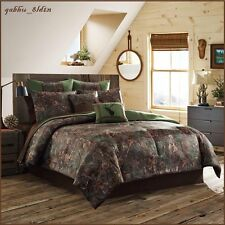 Lodge Cabin Comforter Set Full King 4-Pc Bedding Shams Bed skirt, Forest Motifs