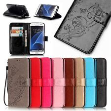 Floral Card Holder Stand Leather Flip Wallet Case Cover For Samsung Galaxy Phone