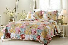 Luxury Prairie and Floral Quilted Coverlet Set with Pilow Shams - ALL SIZES