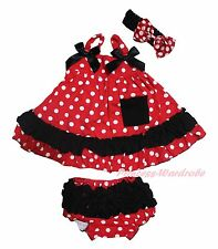 Plain Baby Girls Red Black Minnie Polka Dots Swing Top Bloomer Outfit Set NB-2Y