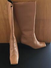 New Women's Camel Leather Knee Boots UK 8 EU 42
