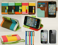Colorful Stripe Wallet Leather Case With Credit Card Holder For iPhone 4 4S 4G