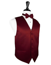 New Mens Apple Red Solid Satin Tuxedo Vest Tie Set Formal Wedding Prom All Size
