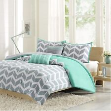 Modern Teal & Grey Chevron Comforter with Pillow Shams with Decorative Pillows