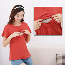 Women Nursing T-Shirt Side Slit Blouse Casual Pregnant Top Summer Maternity Wear