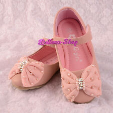 Pearls Diamante Bow Mary Janes Pink  Shoe US Size 9-1.5 EU 25-32 Wedding GS016