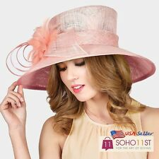 New Kentucky Derby Church Hat Sinamay Dress Hat with Feather - H1282 PK/ YE/ IV