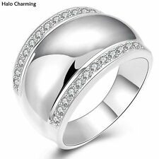 High Quality Rings Fashion Jewelry Decoration Silver Plated Zircon Wide Smooth