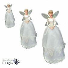 Gisela Graham Resin and Fabric Snowdrop Fairy Tree Topper Christmas Angel Top