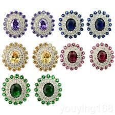 18K White Gold Filled Genuine Crystal Stud Earrings For Womens/Lady Best Gift