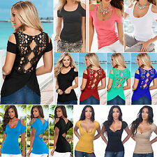 Summer Womens Sexy Short Sleeve O Neck Blouse Casual Loose Stretch T-shirt Tops