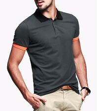 New Men Casual Polo Shirt Short Sleeve Lapel Solid Color Cotton Basic Tee L Gray