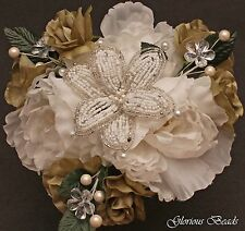 SAGE GREEN  Beaded Lily Flower Centerpiece with Peonies, Roses, Crystals  Pearls