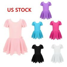 Girls Kid Gymnastic Dance Dress Ballet Tutu Leotard Skate Costume Tulle Skirt