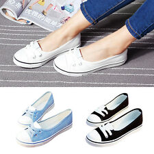 New Womens Girls Soft Flat Canvas Sneakers Solid Color Pumps Shoes Bands Blue