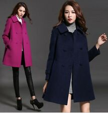 lady Wool double breasted Parka Coat Winter Trench Outwear Jacket plus size hot