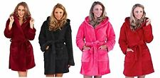 Ladies Womens Fleece Dressing Gown Bathrobe Soft Robe Hooded Housecoat