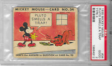 1935 MICKEY MOUSE GUM CARD Type II #34 DISNEY Pluto Smells A Trap PSA GRADED