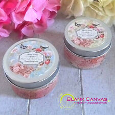 VINTAGE SHABBY CHIC - BIRDS + FLOWERS CANDLE TIN - PEONY SCENTED - SET OF 2