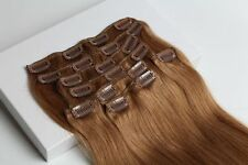 Golden Brown Virgin Clip In Real Human Hair Remy Hair Clip Extensions Full Head