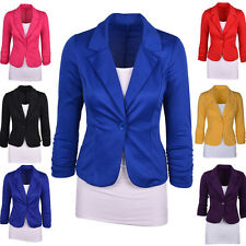 Plus Size Womens Blazer Jacket Suit Work Casual Basic Long Sleeve Button Coat
