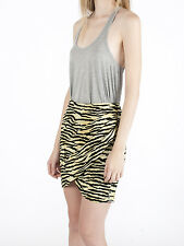 NWT MAISON SCOTCH AMSTERDAM Yellow Black Zebra Print Draped Wrap Mini Skirt $99