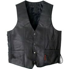 Heavyweight Cowhide Leather Vest SIDE LACES Motorcycle Chopper Biker 3 POCKET