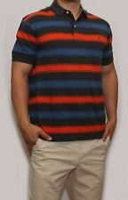 New Tommy Hilfiger Mens Classic Fit Polo T Shirt Orange Grey Blue