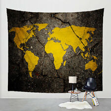 World Road Map Tapestry Yellow Cracked Paint Asphalt Art Wall Hanging