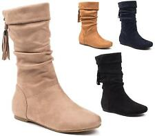 LADIES WOMENS FLAT BOOTS CASUAL FAUX SUEDE TASSEL MID CALF SLOUCH PULL ON SHOES