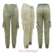 LADIES COMBAT TAPERED FIT WOMENS POCKET CUFFED CHINO PANTS JEANS TROUSERS 8-16