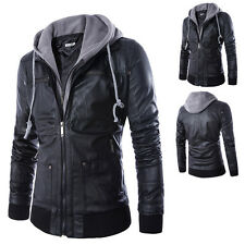 Mens Slim Fit Motorcycle PU Leather Biker Jacket Coat Hooded Bomber Outwear New