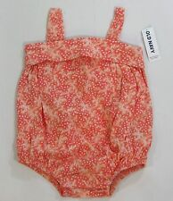 NWT Baby Girls Old Navy 3-6-12-18-24 Months Coral Star Cotton Knit Bubble Romper