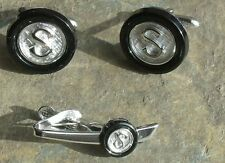 Vintage Swank Silver Tone  Cufflinks  & Tie Clasp Initial S Simulated  Onyx