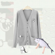 Knit Kawaii Sailor Suit Fish Embroider JK Uniform Sweater Cardigan V Neck