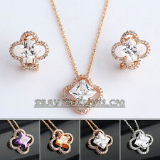 Fashion Micro Inlays Earrings & Necklace Jewelry Set 18KGP Crystal Rhinestone