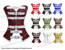 Full Steel Boned Genuine Leather Heavy Lacing Overbust Burlesque Shaper Corset