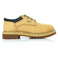 FUDA Men's Low Top Leather Light Weight Oil Resistant Work Boots Wheat