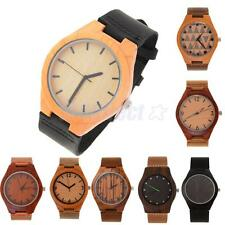New Fashion Mens Natural Wood Mahogany Black Leather Strap Watch Wristwatch