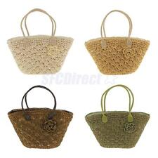Women's Fashion Magazine Style Woven Gold Line Shell Bag Crochet Straw Beach Bag