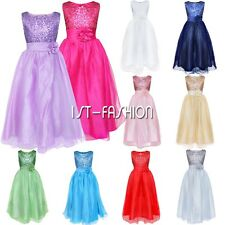 Summer Princess Girls Flower Sequined Belted School Party Ball Gown Prom Dress
