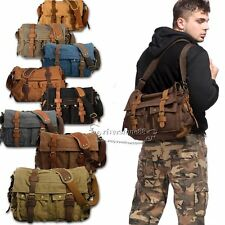 Men's Vintage Canvas Leather School Military Shoulder Bag Messenger Bag Hot Sale