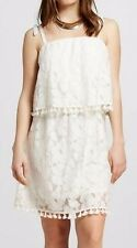 Xhilaration Women's Lace Pinafore Dress with Tie White XS/S/M/L NWT