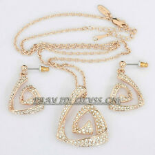 B1-S3021 Fashion Crystal Triangular spiral Earrings Necklace Jewelry Set 18KGP