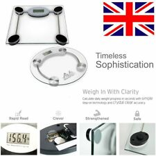 NEW Digital LCD Bathroom Clear Glass Body Electronic Weighing Scales 180KG LBS