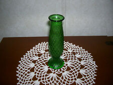 Vintage Green Glass Bud Vase With Diamond Pattern E. O. Brody Co.